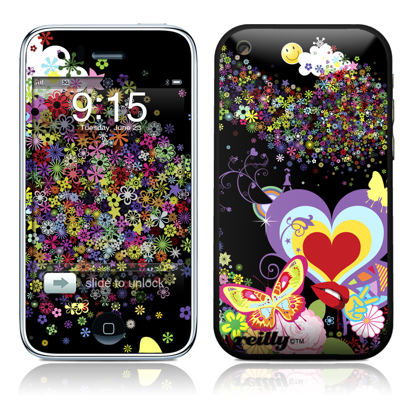 iPhone 3GS Skin design of Heart, Graphic design, Art, Illustration, Love, Visual arts, Pattern, Butterfly, Wildflower, Psychedelic art with black, purple, gray, red, green, orange colors