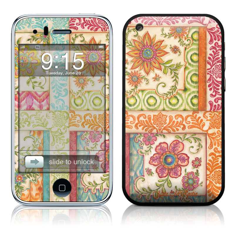 iPhone 3GS Skin design of Pattern, Textile, Line, Design, Wrapping paper, Visual arts, Motif, Floral design, Pedicel with gray, green, pink, red, blue, orange colors