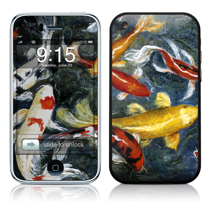 iPhone 3GS Skin design of Koi, Fish pond, Pond, Feeder fish, Fish, Painting, Art, Carp, Tail with black, gray, green, red, blue colors
