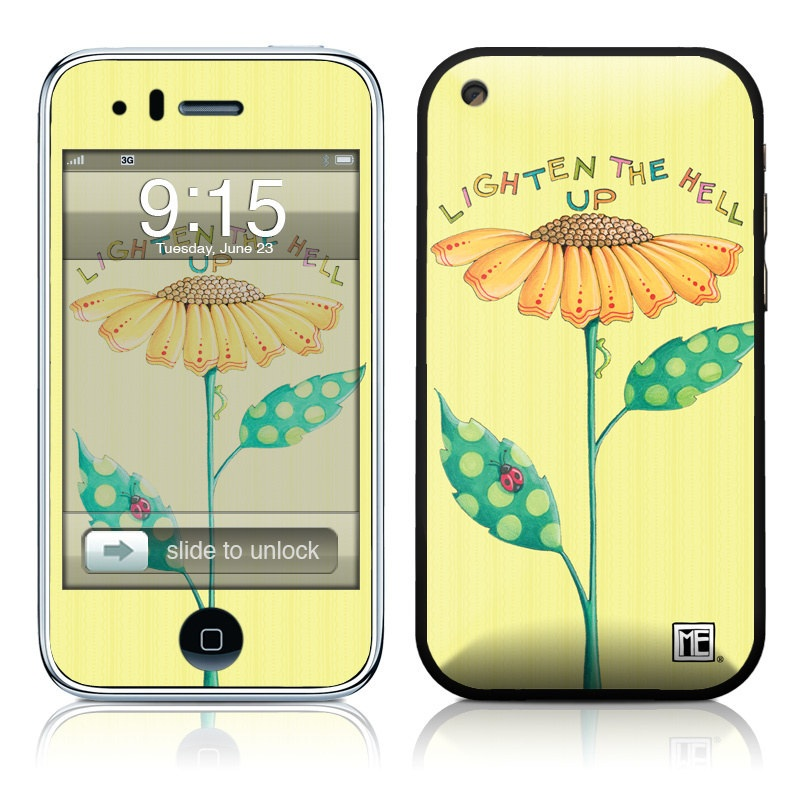 iPhone 3GS Skin design of Flower, Plant, Botany, Flowering plant, Illustration, Wildflower, Daisy family, Coneflower, Pedicel with yellow, green, red, black, orange, blue colors