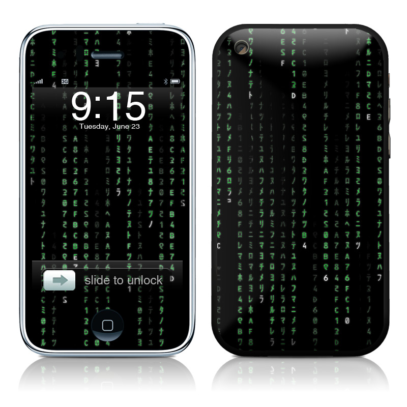 iPhone 3GS Skin design of Green, Black, Pattern, Symmetry with black colors