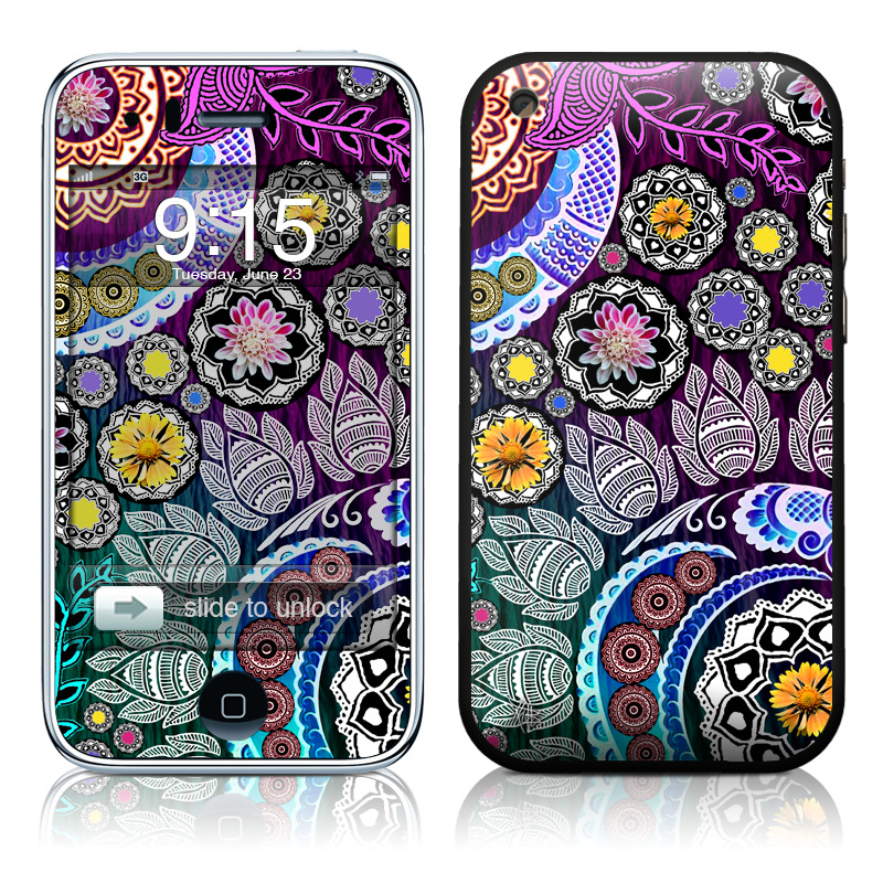 iPhone 3GS Skin design of Pattern, Psychedelic art, Art, Visual arts, Design, Floral design, Textile, Motif, Circle, Illustration with black, gray, purple, blue, green, red colors