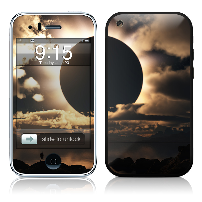 iPhone 3GS Skin design of Sky, Cloud, Daytime, Eclipse, Atmosphere, Cumulus, Sunlight, Sun, Astronomical object, Celestial event with black, red, green, gray, pink, yellow colors