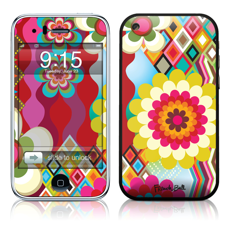 iPhone 3GS Skin design of Pattern, Design, Circle, Line, Visual arts, Textile, Dahlia, Graphic design, Floral design with red, green, yellow, gray, purple, blue colors