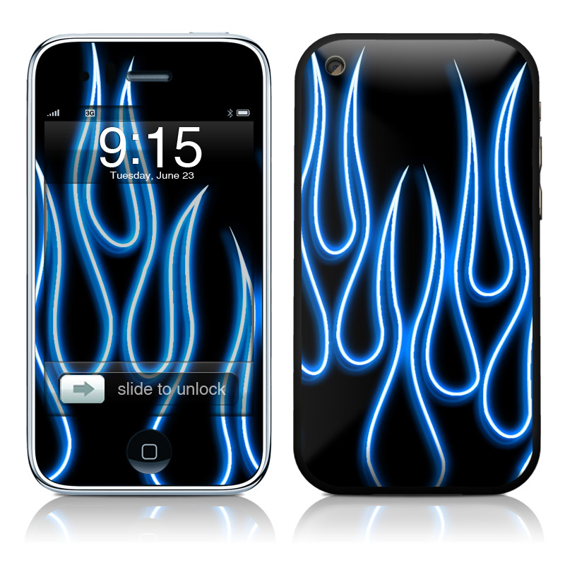Blue Neon Flames iPhone 3GS Skin