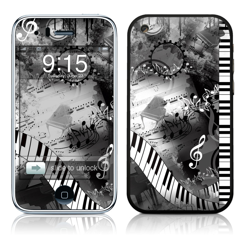 iPhone 3GS Skin design of Music, Monochrome, Black-and-white, Illustration, Graphic design, Musical instrument, Technology, Musical keyboard, Piano, Electronic instrument with black, gray, white colors