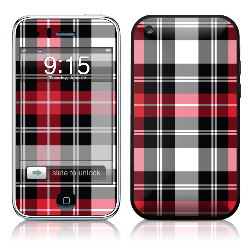 iPhone 3GS Skin design of Plaid, Tartan, Pattern, Red, Textile, Design, Line, Pink, Magenta, Square with black, gray, pink, red, white colors
