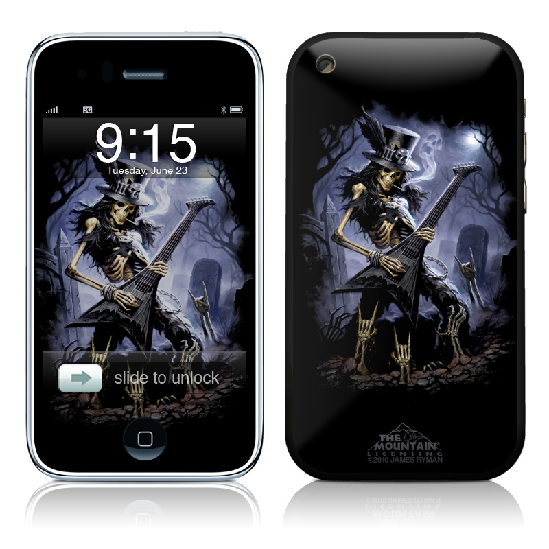 iPhone 3GS Skin design of Fictional character, Cg artwork, Darkness, Guitarist, Illustration, Woman warrior with black, gray, blue colors