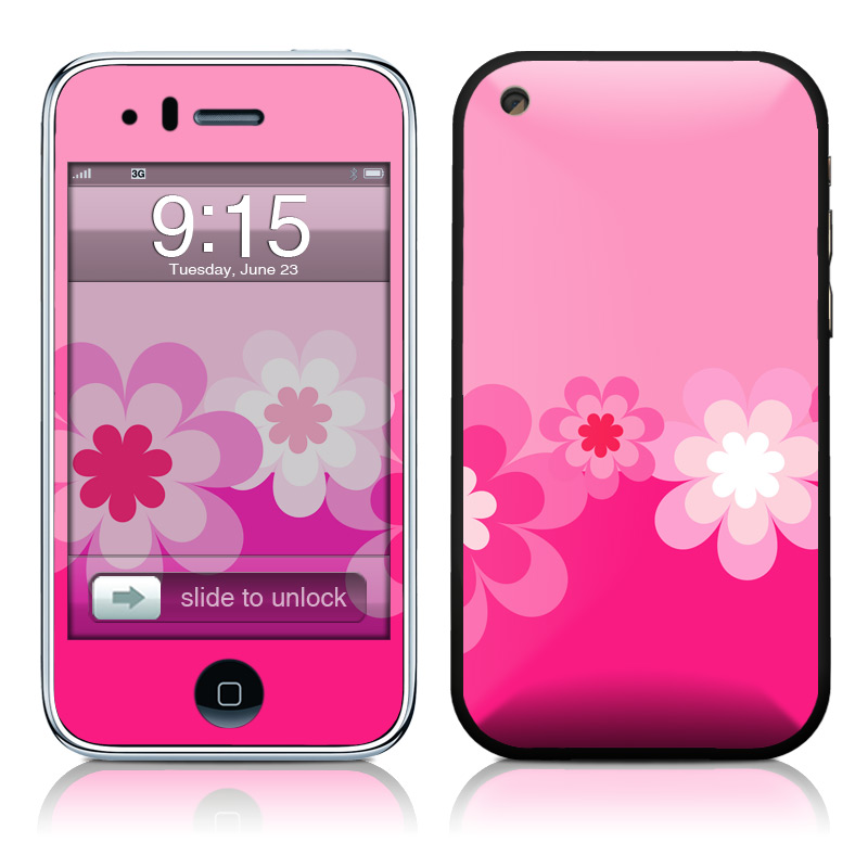 Retro Pink Flowers iPhone 3GS Skin