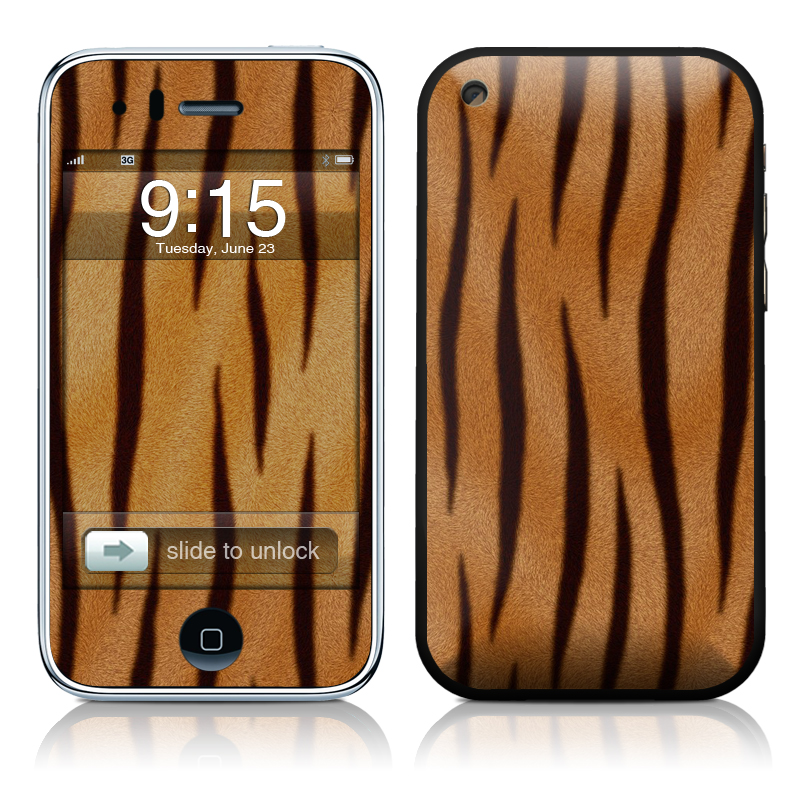 iPhone 3GS Skin design of Pattern, Wood, Wildlife, Fur, Tiger with red, black, green colors