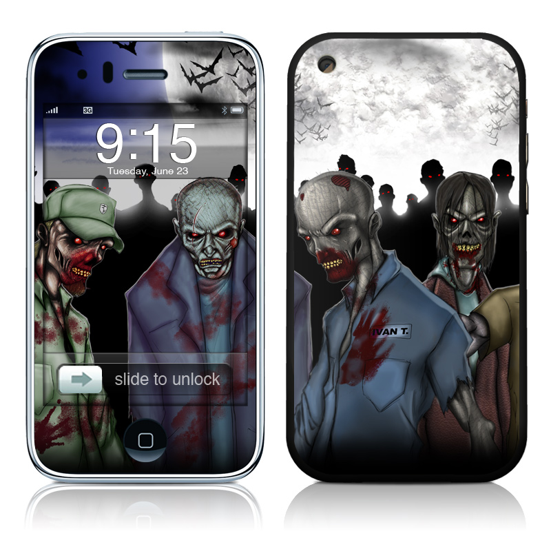 iPhone 3GS Skin design of Zombie, Fictional character, Fiction, Crowd, Illustration, Art, Screenshot with black, gray, white, blue colors