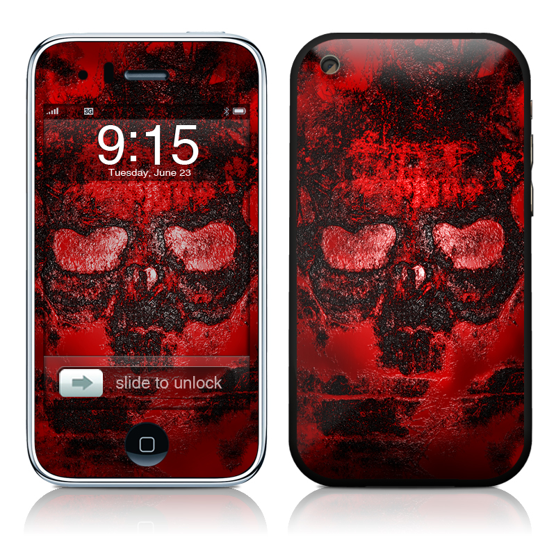 iPhone 3GS Skin design of Red, Heart, Graphics, Pattern, Skull, Graphic design, Flesh, Visual arts, Art, Illustration with black, red colors