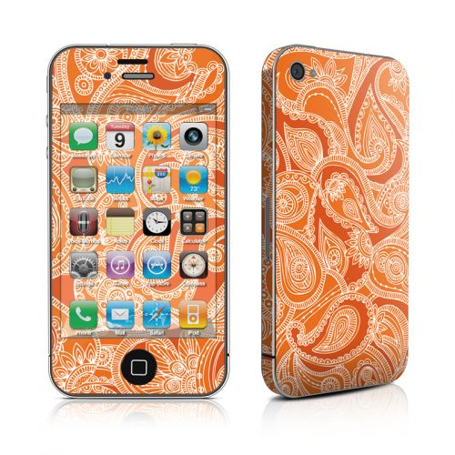 Paisley In Orange iPhone 4s Skin