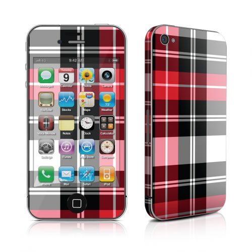 Red Plaid iPhone 4s Skin
