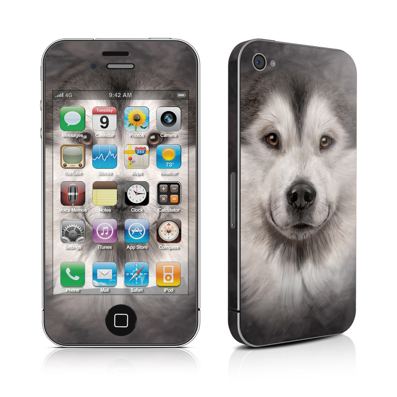 iPhone 4s Skin design of Dog, Mammal, Vertebrate, Canidae, Siberian husky, Dog breed, Alaskan malamute, Nose, Native american indian dog, Snout with gray, white, yellow colors