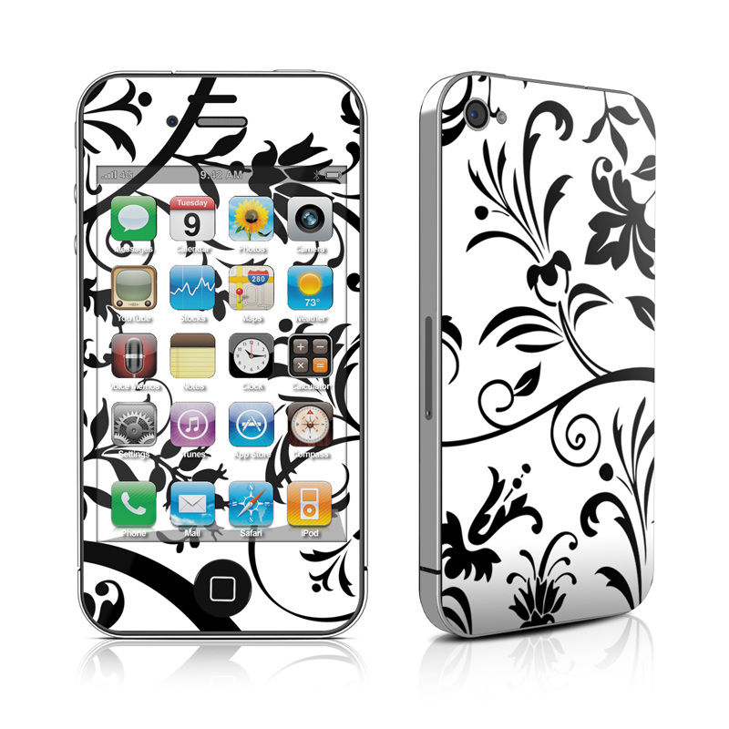 iPhone 4s Skin design of Pattern, Floral design, Leaf, Black-and-white, Botany, Design, Branch, Visual arts, Ornament, Wallpaper with white, black colors