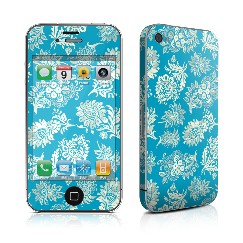 iPhone 4s Skin design of Pattern, Aqua, Turquoise, Teal, Design, Motif, Wrapping paper, Visual arts, Floral design, Pedicel with blue, gray, yellow colors