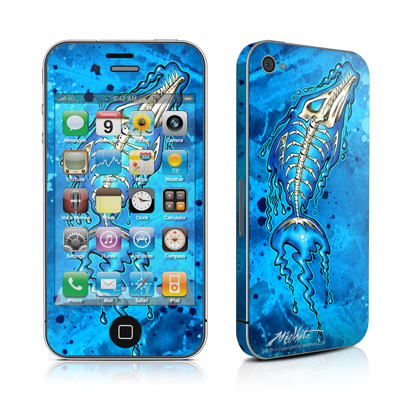 iPhone 4s Skin design of Blue, Water, Aqua, Electric blue, Illustration, Graphic design, Liquid, Graphics, Marine biology, Art with blue, white colors