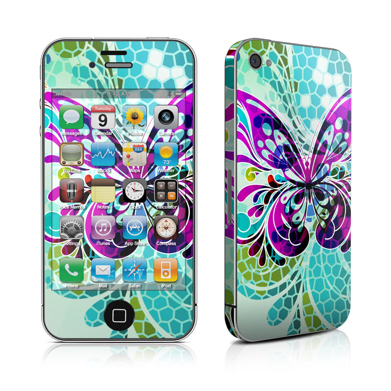 iPhone 4s Skin design of Butterfly, Pattern, Insect, Moths and butterflies, Purple, Graphic design, Design, Pollinator, Visual arts, Magenta with blue, green, purple colors