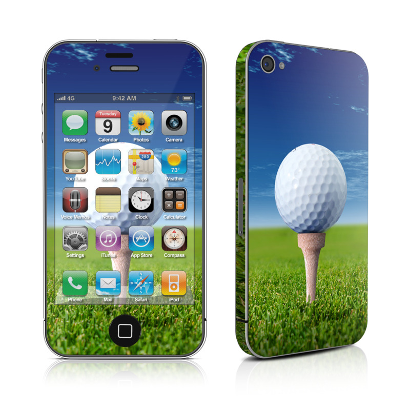 iPhone 4s Skin design of Golf ball, Golf, Golf equipment, Daytime, Grassland, Grass, Tee, Sky, Recreation, Sports equipment with blue, green, yellow, white colors