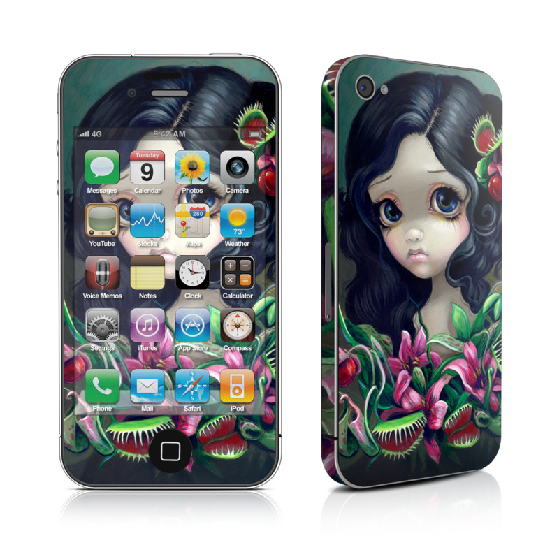 iPhone 4s Skin design of Illustration, Plant, Fictional character, Doll, Art, Flower with black, yellow, green, red, pink colors