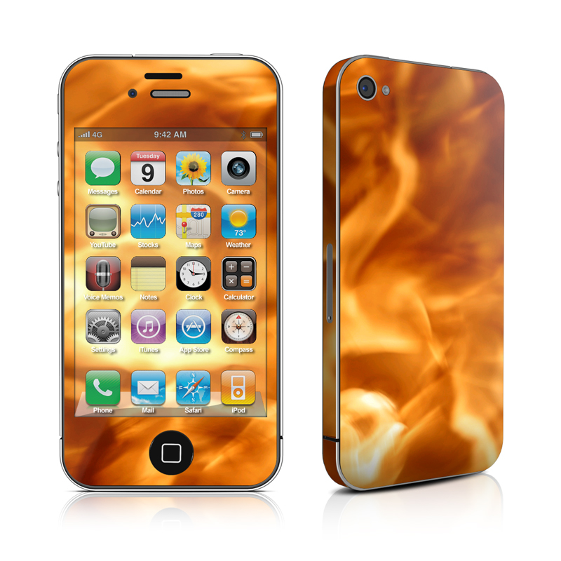 iPhone 4s Skin design of Flame, Fire, Heat, Orange with red, orange, black colors