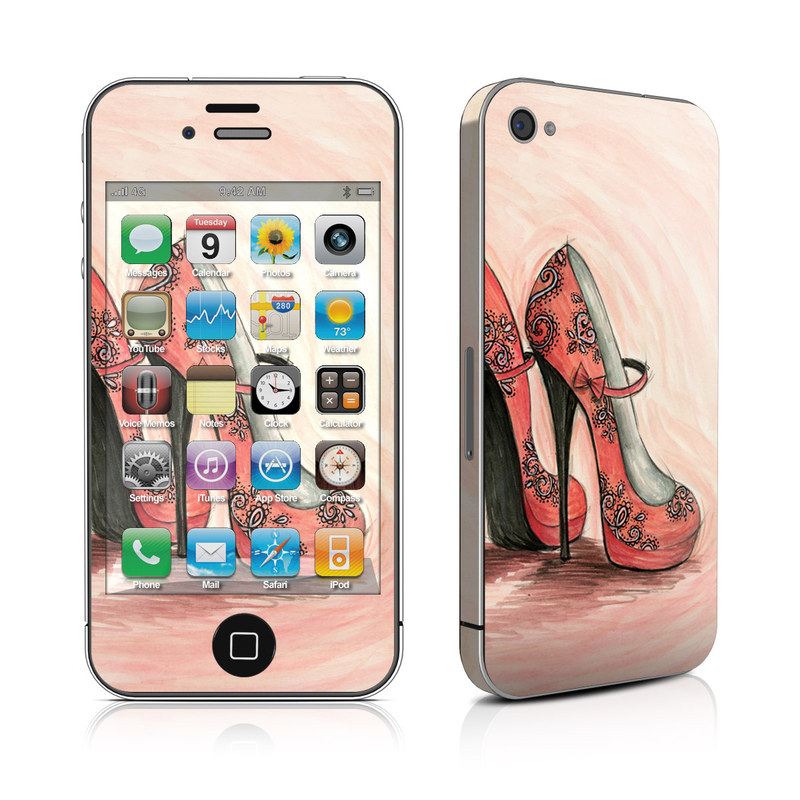 iPhone 4s Skin design of Footwear, High heels, Shoe, Pink, Court shoe, Illustration, Leg, Basic pump, Peach, Painting with pink, gray, red, white, black, green colors