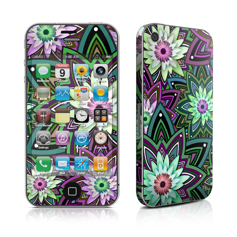 iPhone 4s Skin design of Pattern, Purple, Green, Flower, Psychedelic art, Design, Lilac, Plant, Symmetry, Visual arts with black, gray, green, purple, blue, red colors