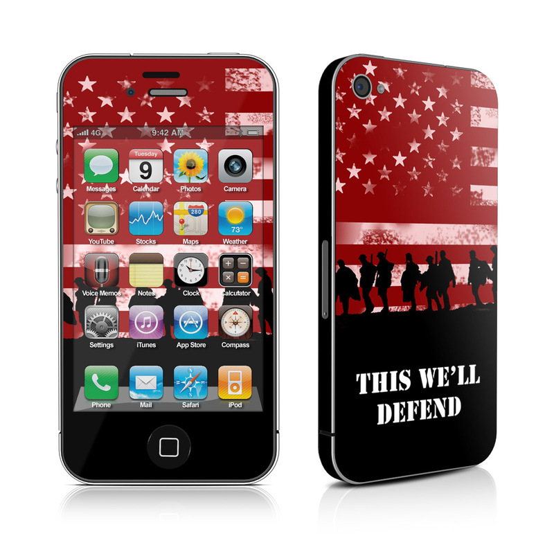 iPhone 4s Skin design of Red, Flag, Font, Veterans day, Crowd, Illustration, Silhouette, Red flag with red, black, gray, pink colors