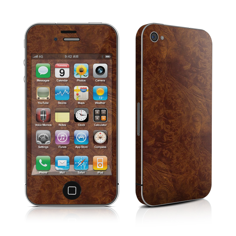 Dark Burlwood iPhone 4 Skin