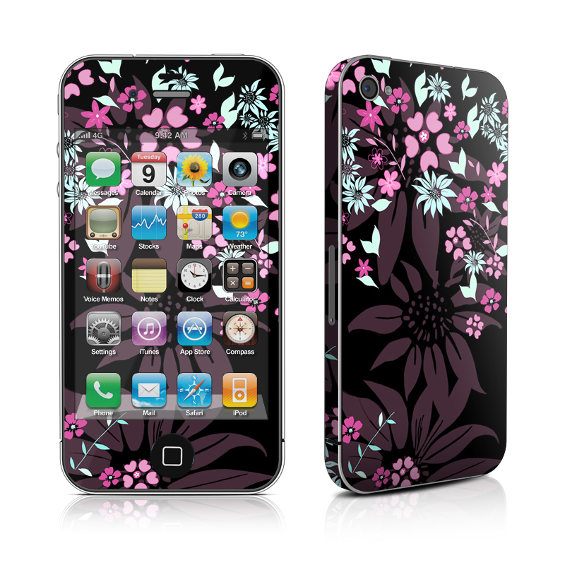Dark Flowers iPhone 4s Skin