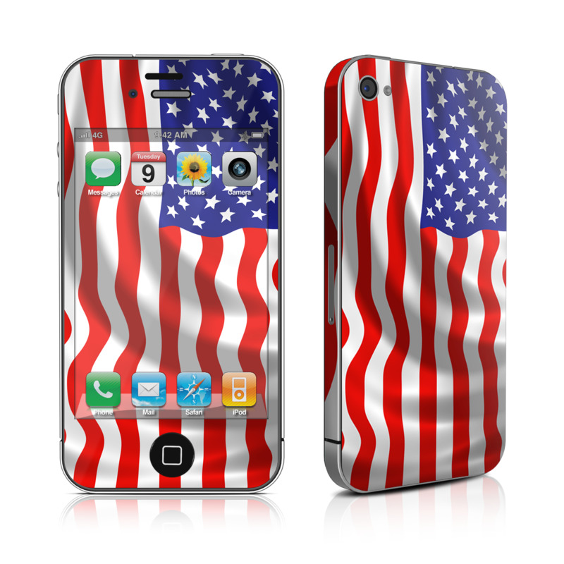 iPhone 4s Skin design of Flag of the united states, Flag, Flag Day (USA), Veterans day, Independence day, Memorial day, Holiday with gray, red, blue, black, white colors