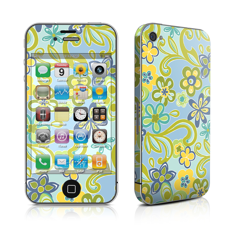 Hippie Flowers Blue iPhone 4s Skin