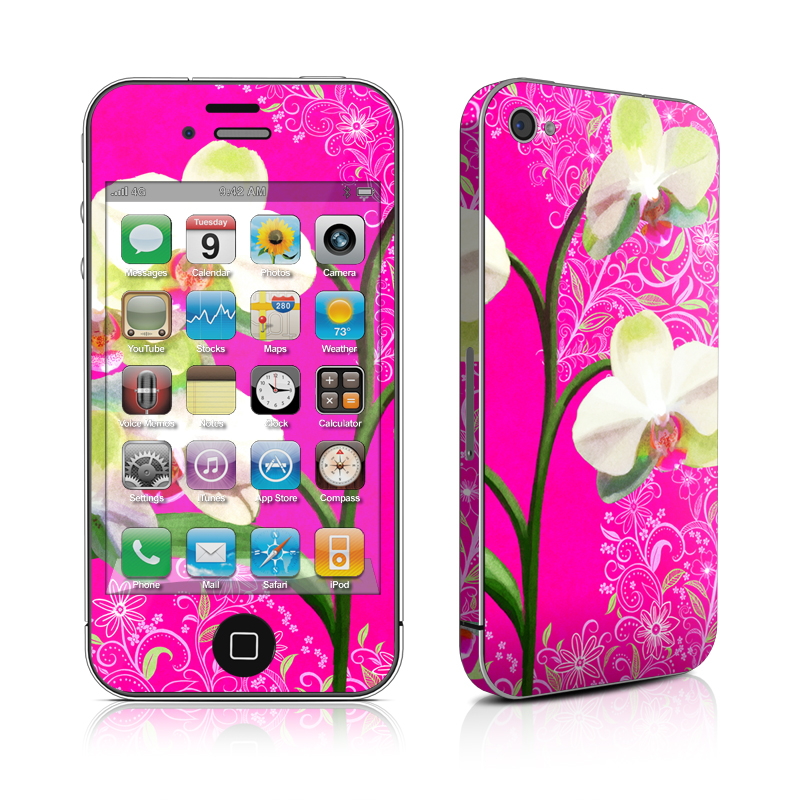 iPhone 4s Skin design of moth orchid, Flower, Pink, Plant, Petal, Flowering plant, Moth Orchid, Magenta, Orchid, Orchids of the philippines with pink, gray, yellow, green, black colors