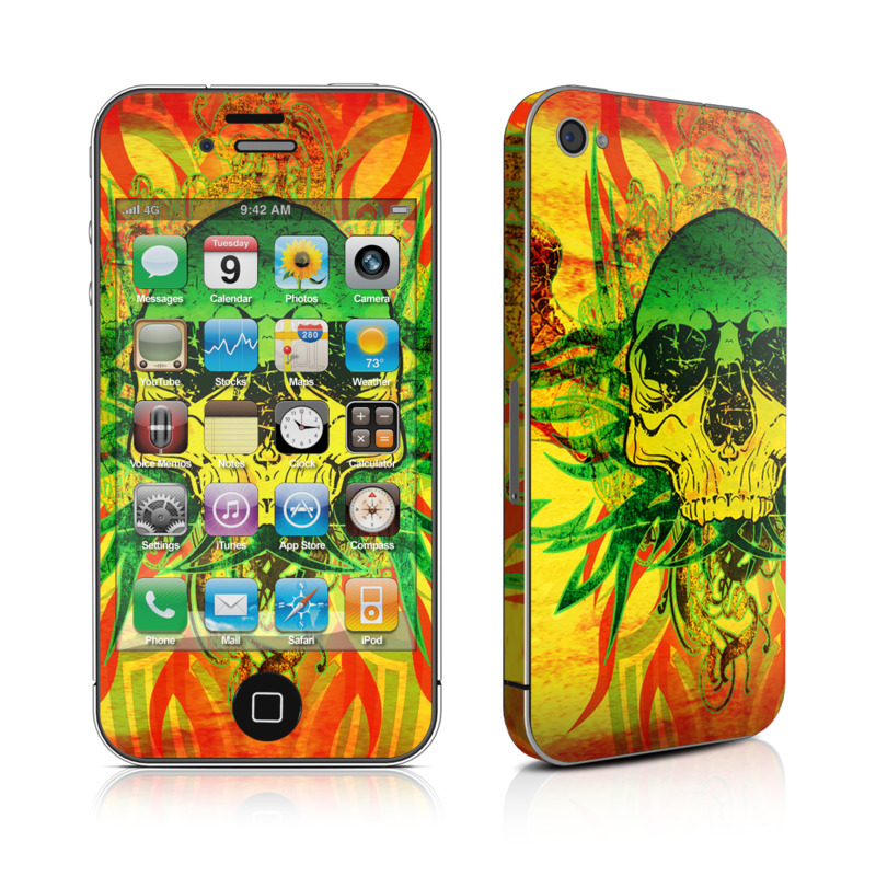 iPhone 4s Skin design of Psychedelic art, Skull, Illustration, Bone, Art, Graphic design, Visual arts, Poster, Plant, Painting with green, orange, black, red colors