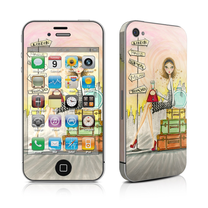 iPhone 4s Skin design of Cartoon, Illustration, Art, Watercolor paint with gray, pink, green, red, black colors