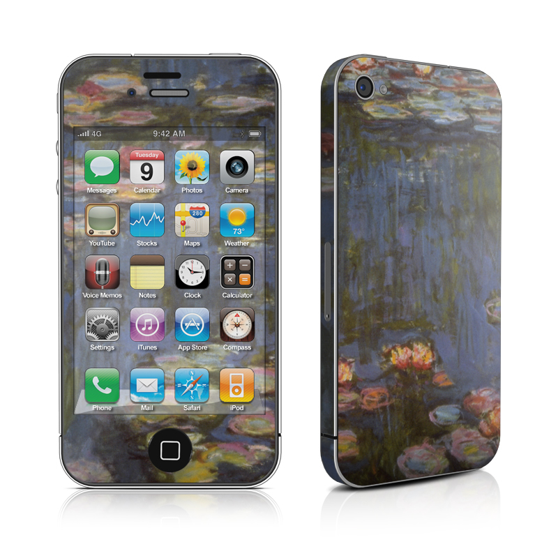 iPhone 4s Skin design of Pond, Water, Painting, Watercourse, water lily, Reflection, Aquatic plant, Leaf, Fish pond, Still life with black, blue, gray, red, green colors