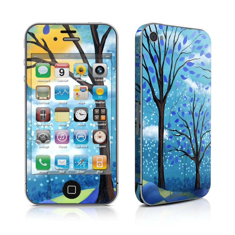 iPhone 4s Skin design of Natural landscape, Nature, Blue, Tree, Sky, Branch, Spring, Woody plant, Plant, Leaf with blue, gray, black, purple, green colors