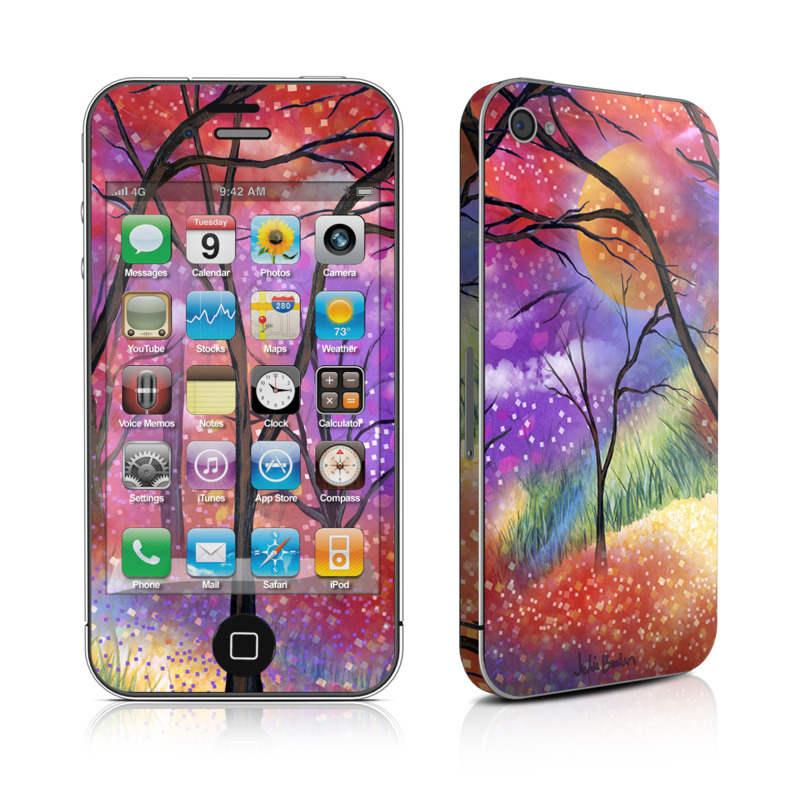 iPhone 4s Skin design of Nature, Tree, Natural landscape, Painting, Watercolor paint, Branch, Acrylic paint, Purple, Modern art, Leaf with red, purple, black, gray, green, blue colors