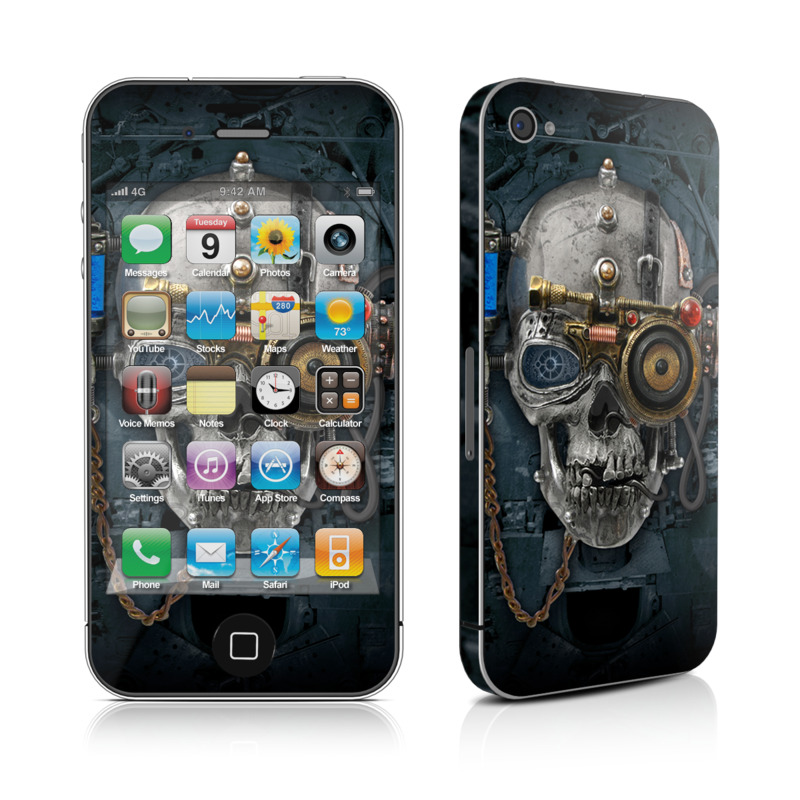 iPhone 4s Skin design of Engine, Auto part, Still life photography, Personal protective equipment, Illustration, Automotive engine part, Art with black, gray, red, green colors