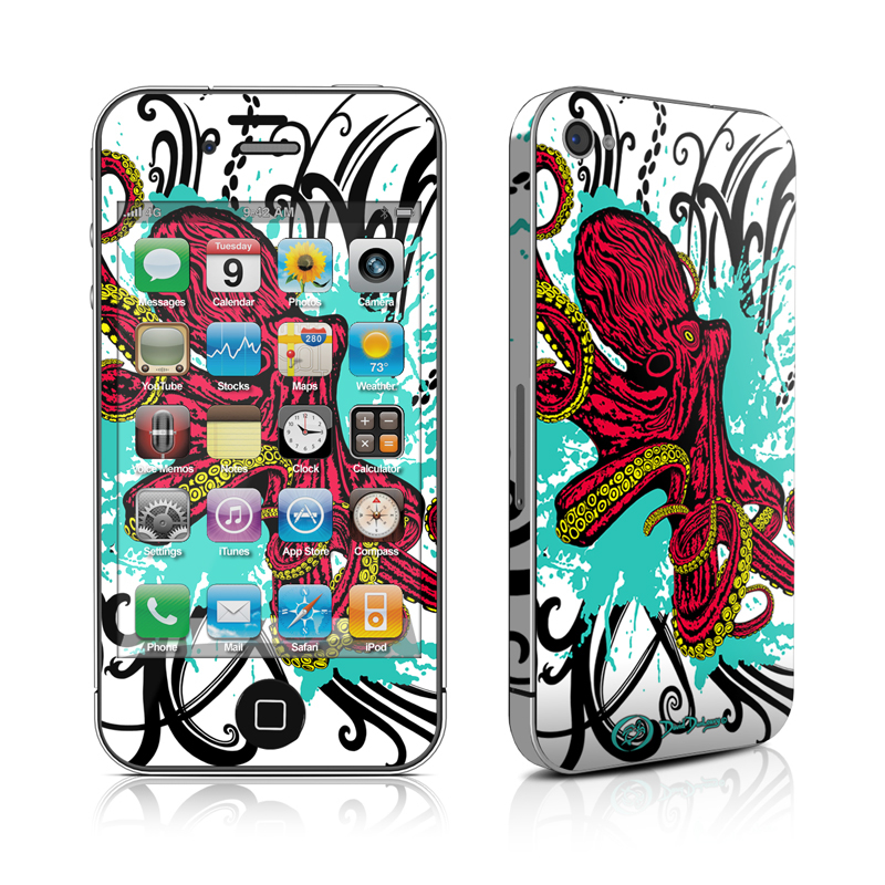 iPhone 4s Skin design of Graphic design, Illustration, Visual arts, Octopus, Design, Art, Fictional character, Pattern, Clip art, Line art with black, white, gray, red, blue, green colors