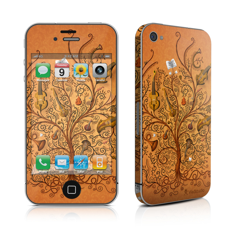 iPhone 4s Skin design of Pattern, Art, Design, Brown, Visual arts, Motif, Ornament, Floral design, Textile, Wallpaper with green, red, black colors
