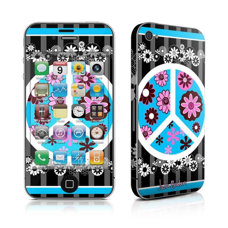 Peace Flowers Black iPhone 4s Skin