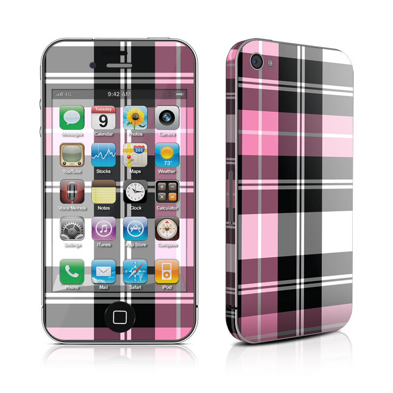 Pink Plaid iPhone 4s Skin