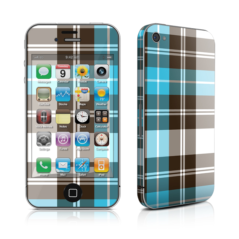 Turquoise Plaid iPhone 4 Skin