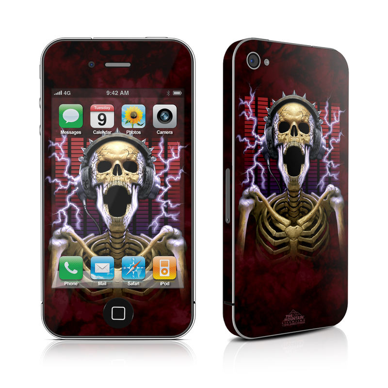 iPhone 4s Skin design of Skull, Bone, Skeleton, Animation, Graphics, Ghost, Fiction, Cg artwork, Illustration, Graphic design with black, gray, red, green, purple colors