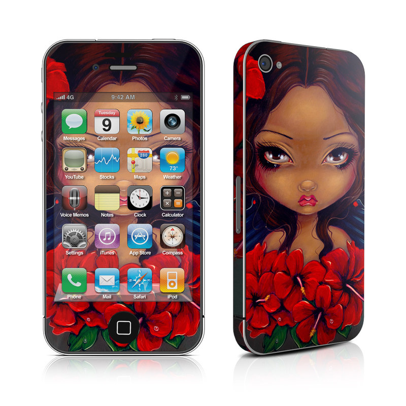 Red Hibiscus Fairy iPhone 4s Skin