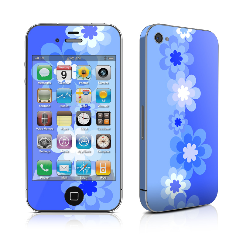 Retro Blue Flowers iPhone 4s Skin