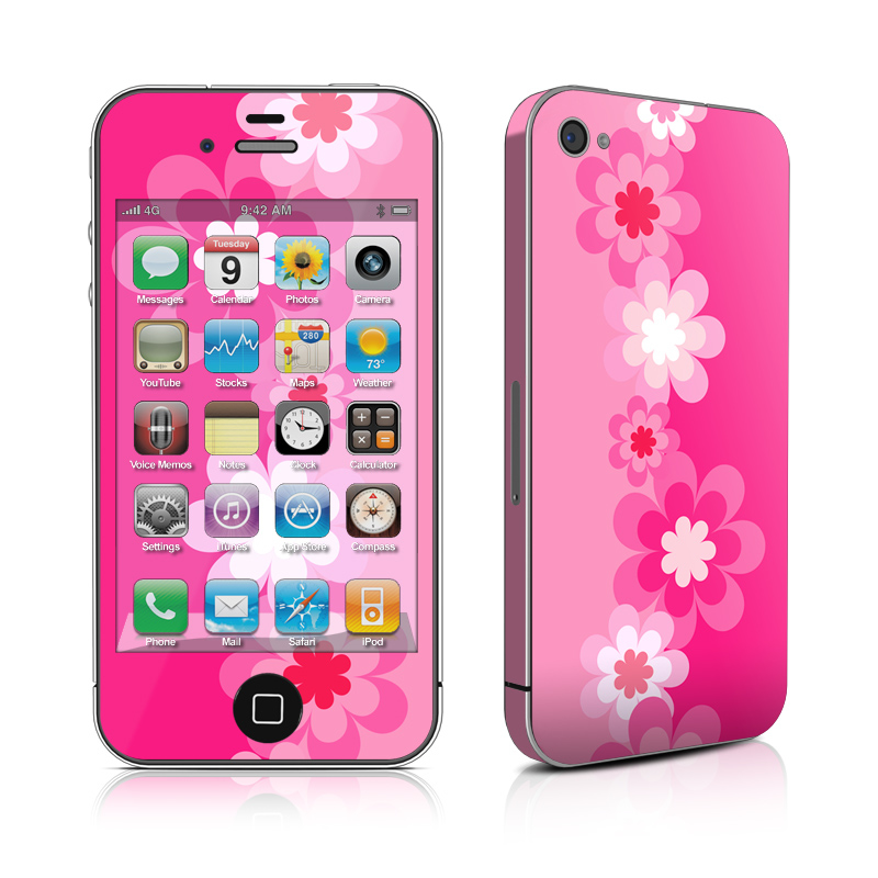 Retro Pink Flowers iPhone 4 Skin