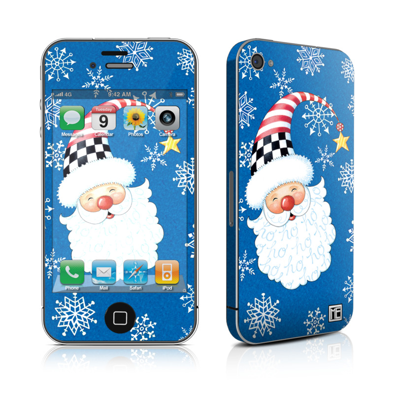 iPhone 4s Skin design of Christmas, Santa claus, Christmas eve, Fictional character with blue, white, gray, purple colors